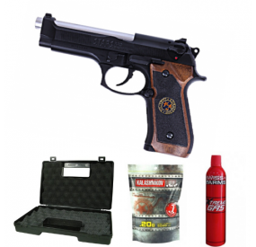 PACK WE M92 BIOHAZARD BLOWBACK FULLMETAL GAZ NOIR - 500651 airsoft