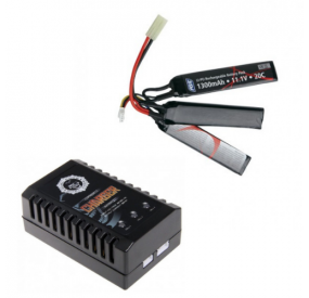 PACK BATTERIE LI-PO 11.1V/1300MAH +CHARGEUR LIPO COMPACT DUEL CODE