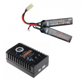 BATTERIE LI-PO 7.4V/1300MAH + CHARGEUR LIPO COMPACT DUEL CODE airsoft