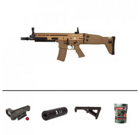 Pack FN Herstal SCAR AEG Full Metal Tan + Red Dot + Silencieux + Poignée Angulaire + 2 Chargeurs + Sachet 4000 Billes 0.25g