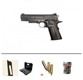 Pack Pistolet Colt 1911 Combat Unit Co2 Blowback Noir (180564) + 2 chargeurs + 5 Cartouches Co2 + Mallette + 5000 Billes 0.20g