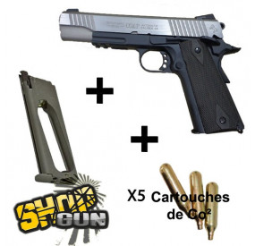 Pack Colt 1911 rail gun black/silver Fullmetal Blowback CO² - Deluxe
